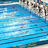 Ryan Lochte grabbed the early lead in the men's 4 x 200 relay.  Source: Twitter user esqright