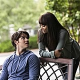 Steven R. McQueen and Kat Graham on the season five premiere of The Vampire Diaries.
