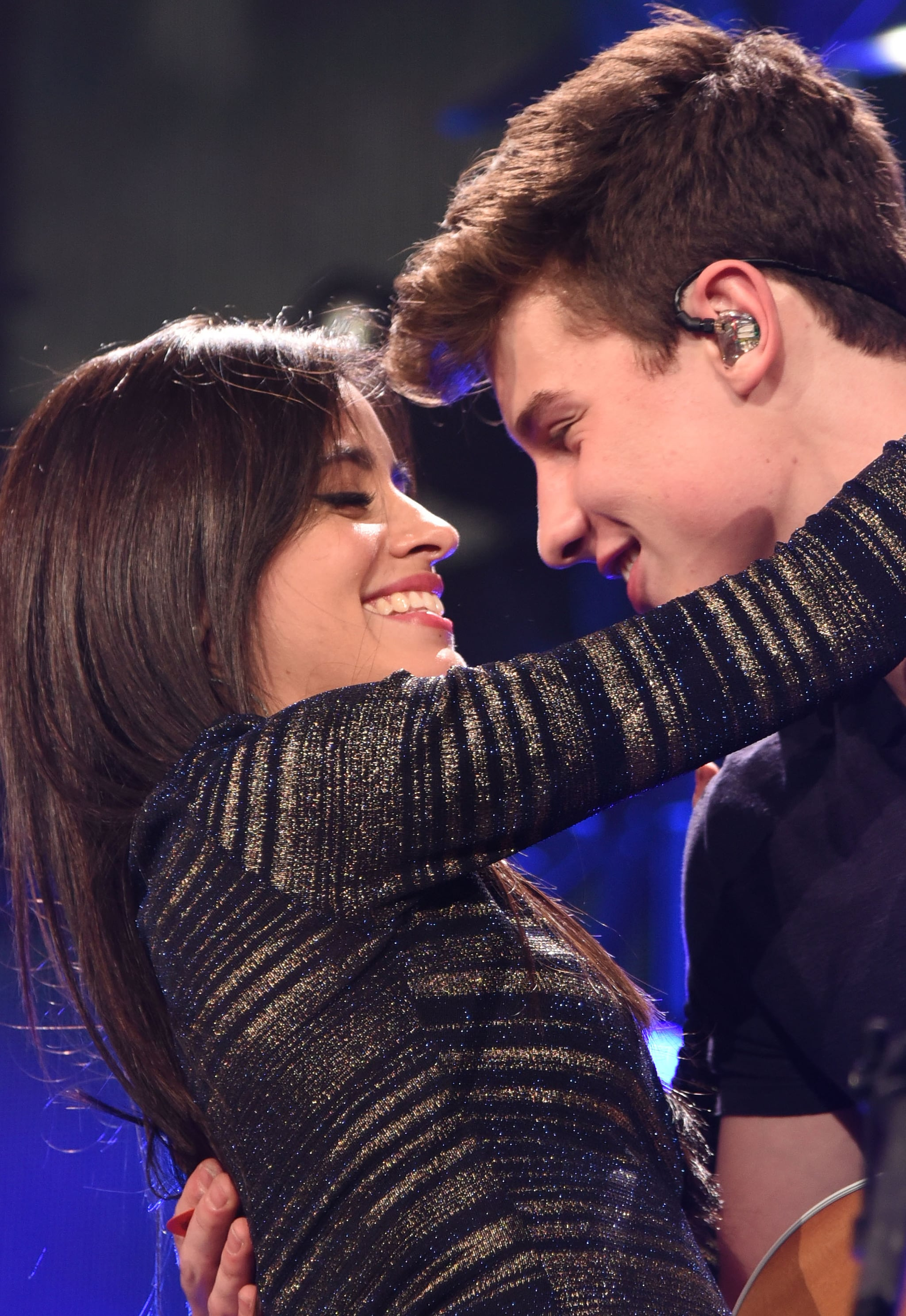 CHICAGO, IL - DECEMBER 16:  Singer Camila Cabello of Fifth Harmony (L) performs with musician Shawn Mendes onstage during 103.5 KISS FM's Jingle Ball 2015 presented by Capital One at Allstate Arena on December 16, 2015 in Chicago, Illinois.  (Photo by C Flanigan/Getty Images)