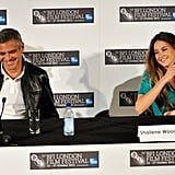 George Clooney and Shailene Woodley smiled during a press conference in London.
