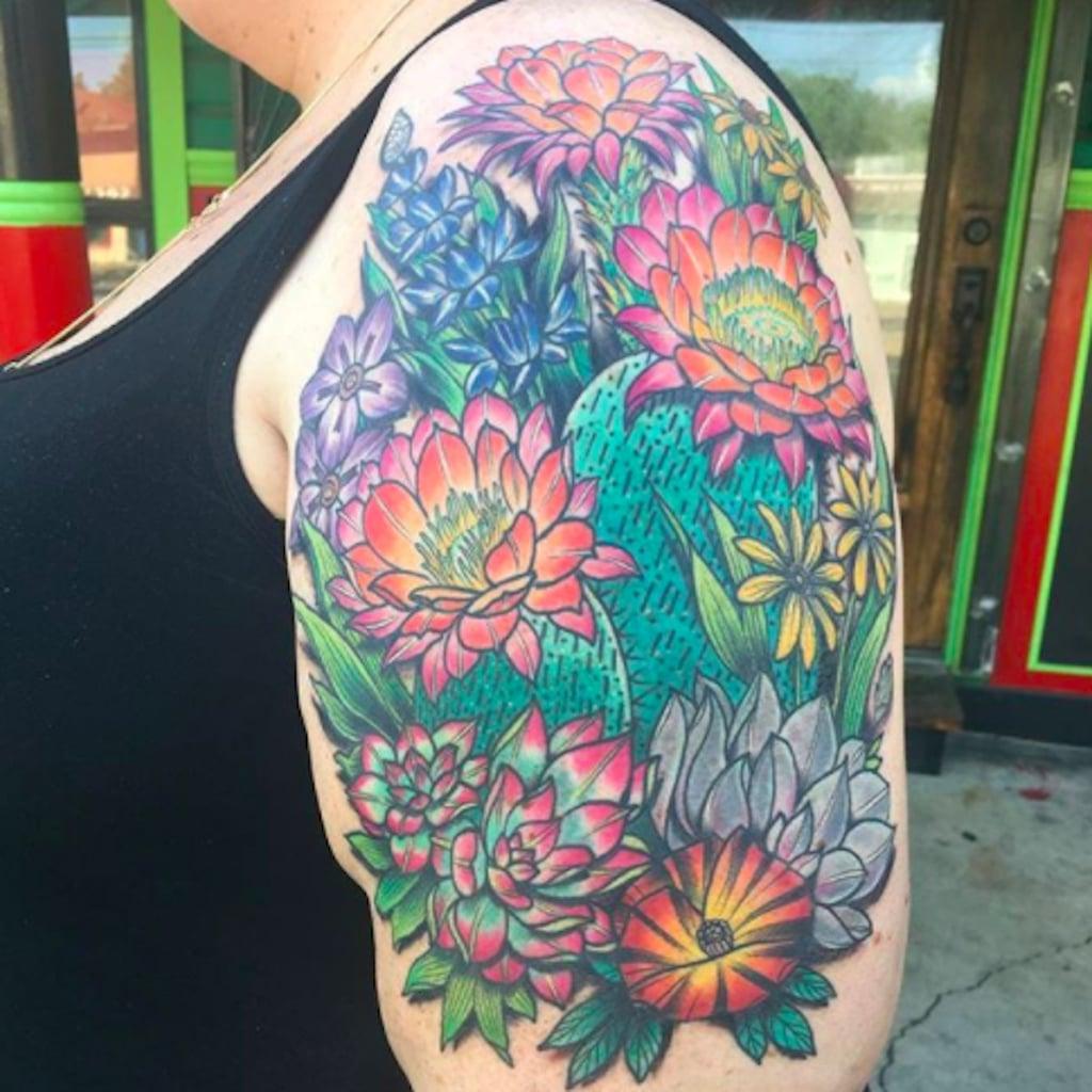 cactus flower tattoos popsugar beauty rh popsugar com yellow cactus flower tattoo saguaro cactus flower tattoo