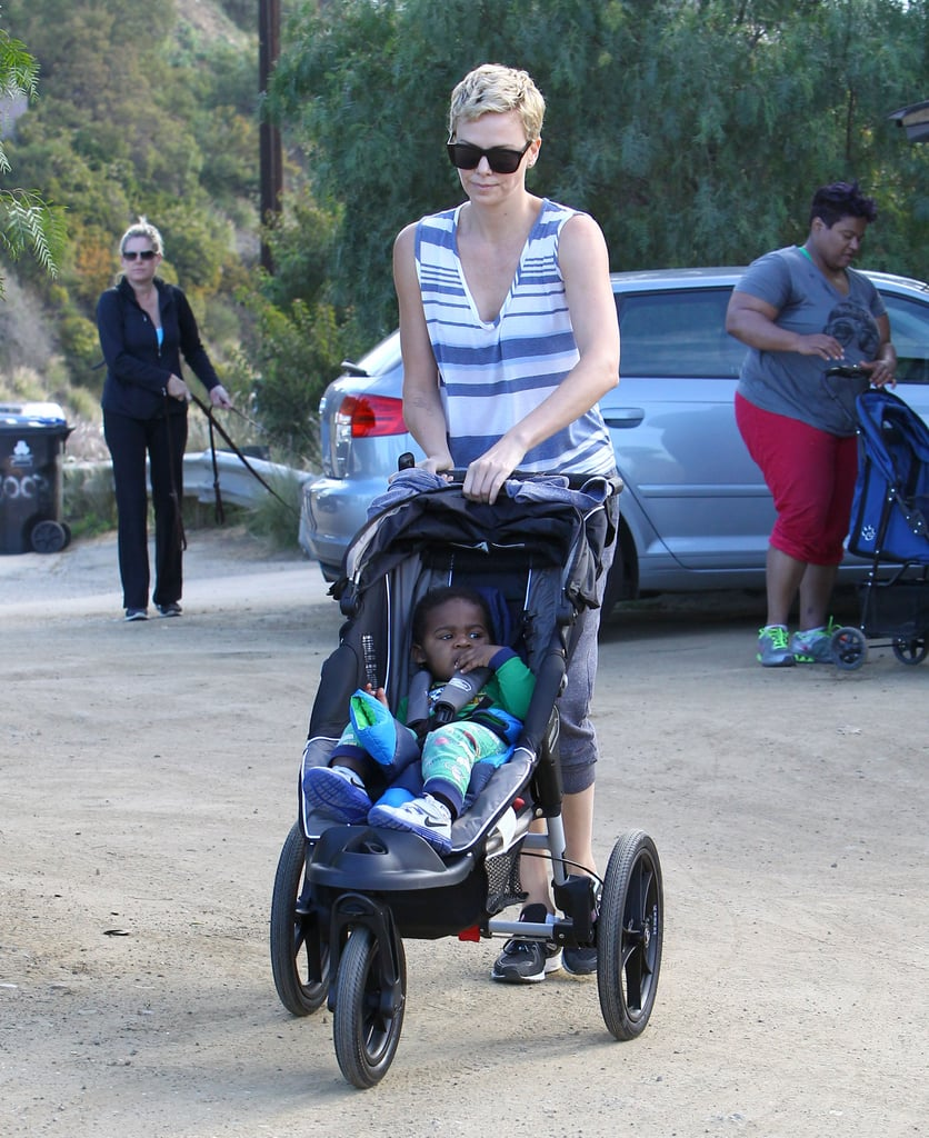 Charlize Theron worked out in Hollywood.