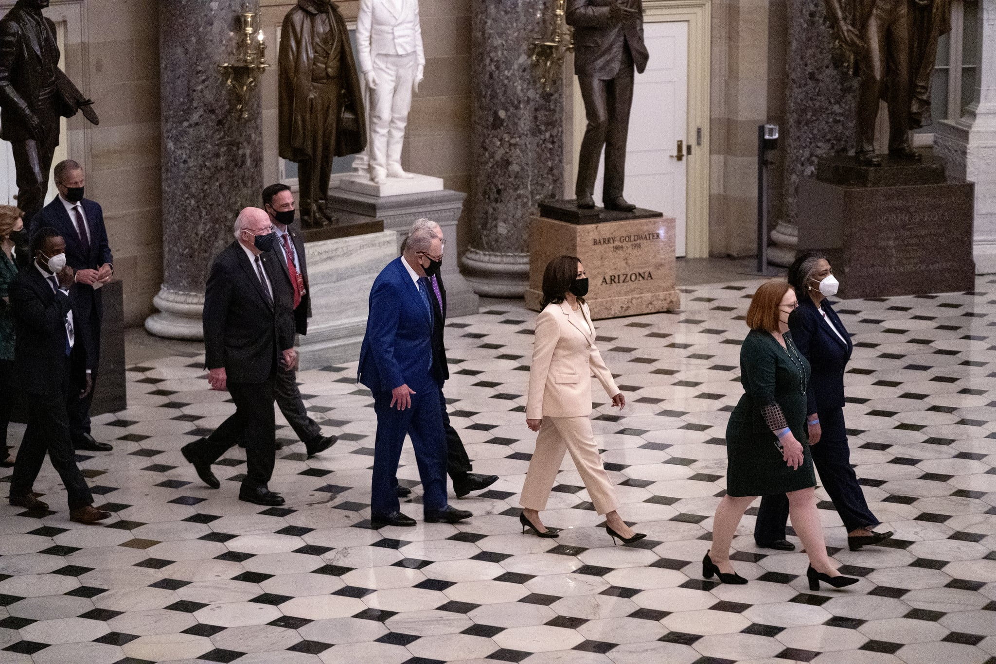 WASHINGTON, DC - APRIL 28: Vice President Kamala Harris, Majority Leader Charles Schumer (D-N.Y.), Minority Leader Mitch McConnell (R-Ky.), Sen. Patrick Leahy (D-Vt.) and members of the Senate walk through Statuary Hall in the U.S. Capitol in Washington, D.C., as they make their way to hear President Joe Biden give his first joint address to a session of Congress in the House chamber of the U.S. Capitol April 28, 2021 in Washington, DC.  (Photo by Greg Nash-Pool/Getty Images)