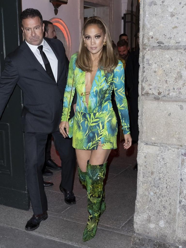 Jennifer Lopez Wore a Versace Minidress During Milan Fashion Week