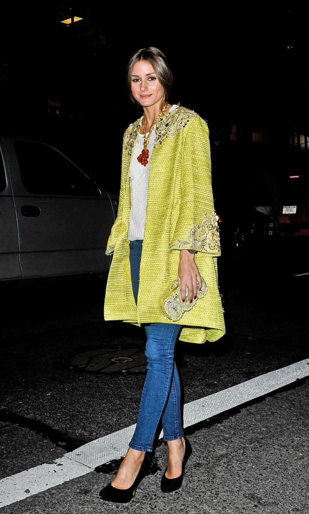 While heading into the Marchesa show, Olivia Palermo was a ray of sunshine in an embellished tweed swing coat, white brocade blouse, and true blue denim.
