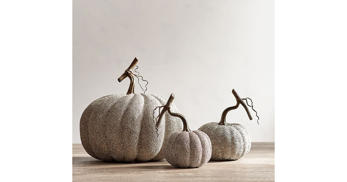 german glitter pumpkins pottery barn halloween