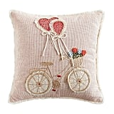 Pink Bicycle With Heart Balloons Pillow