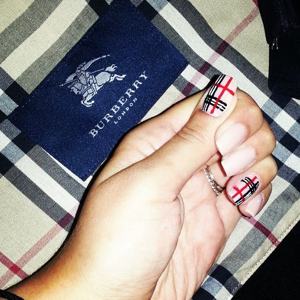 Add some designer flair to your manicure with a Burberry-print nail design. Source: Instagram user maribracco