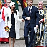 Prince Harry once again turned to blue when he attended the 2018 Commonwealth Day service in London. Meghan wore a matching Amanda Wakeley dress with a cream coat from the same brand, and she accessorised her outfit with a custom Stephen Jones hat, a small Mulberry satchel, and suede Manolo Blahnik pumps.