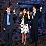 Kate had fun with Prince Harry and William when the royals toured a Harry Potter set at Warner Bros. Studios in London on April 26, 2013.