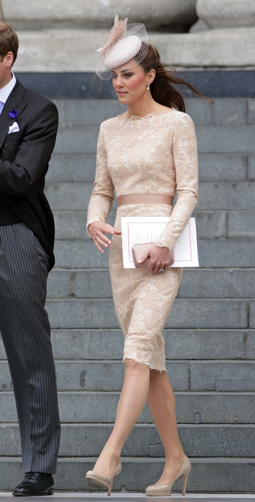 For the Diamond Jubilee, Kate slipped into this feminine, cream-laced Alexander McQueen confection.