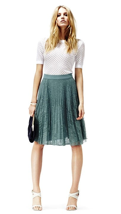 We love the idea of pairing this full lace skirt with a silky button-down and espadrilles.  Reiss Juniper Lace Skirt ($240)