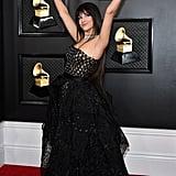 Camila Cabello Black High-Low Versace Dress at Grammys 2020