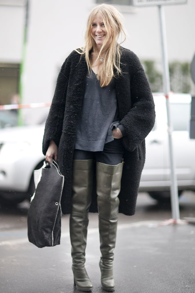 It was all about the boots – well, and that coat — in this high-impact look.