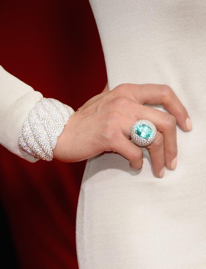 Check out the David Yurman paraiba tourmaline and white diamond ring on Paula Patton's finger!