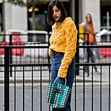 Style a Chunky Sweater With High-Waisted Jeans