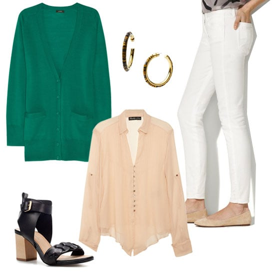 Create a work-appropriate ensemble by pairing a loose-fitted blouse with a colorful cardigan and white jeans. Then, to make sure your personality shines through, add a fun pair of oversize hoop earrings into the mix.