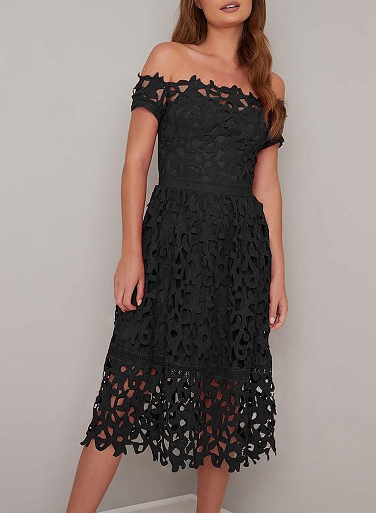 AlvaQ Hollow Lace Midi Dress