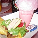 Bacon Cheeseburger and Pink Cotton Candy Milkshake