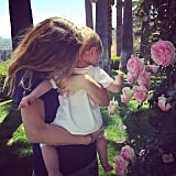 Drew Barrymore and Frankie Kopelman stopped to smell the roses on Mother's Day.