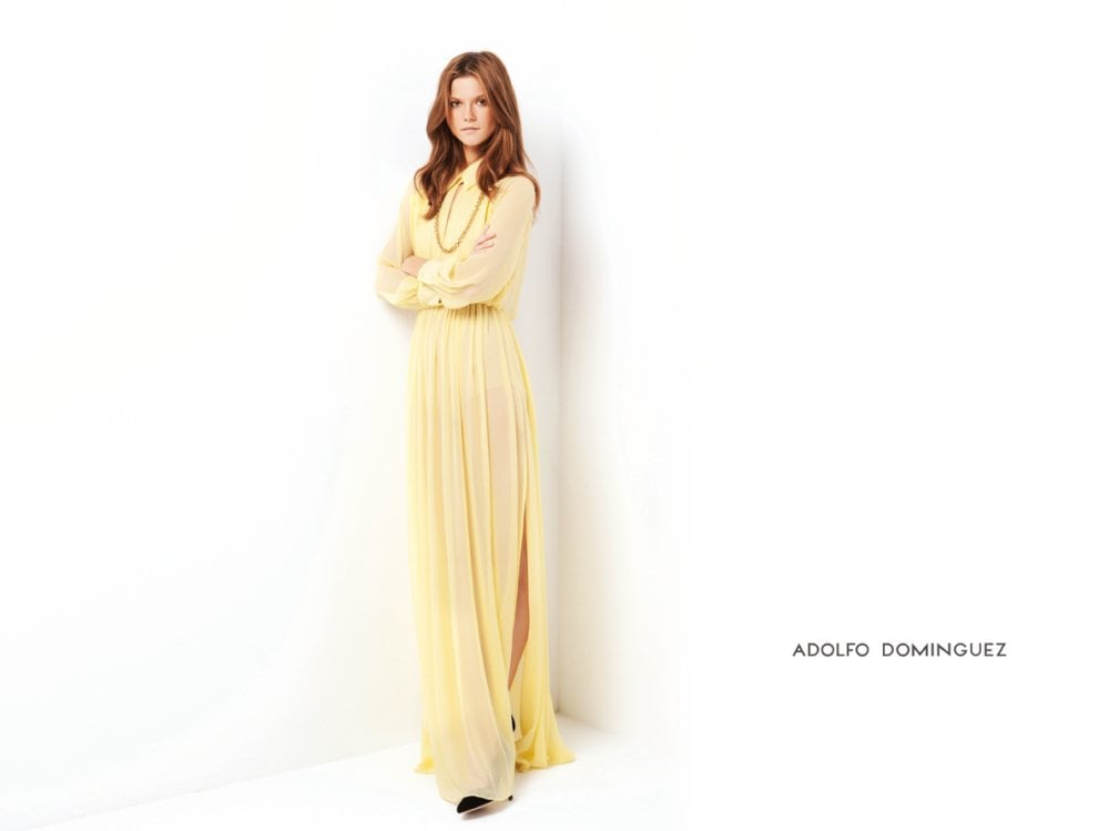 Spanish designer Adolfo Dominguez opts for long, flowy, and sheer dresses for Spring '12. Source: Fashion Gone Rogue