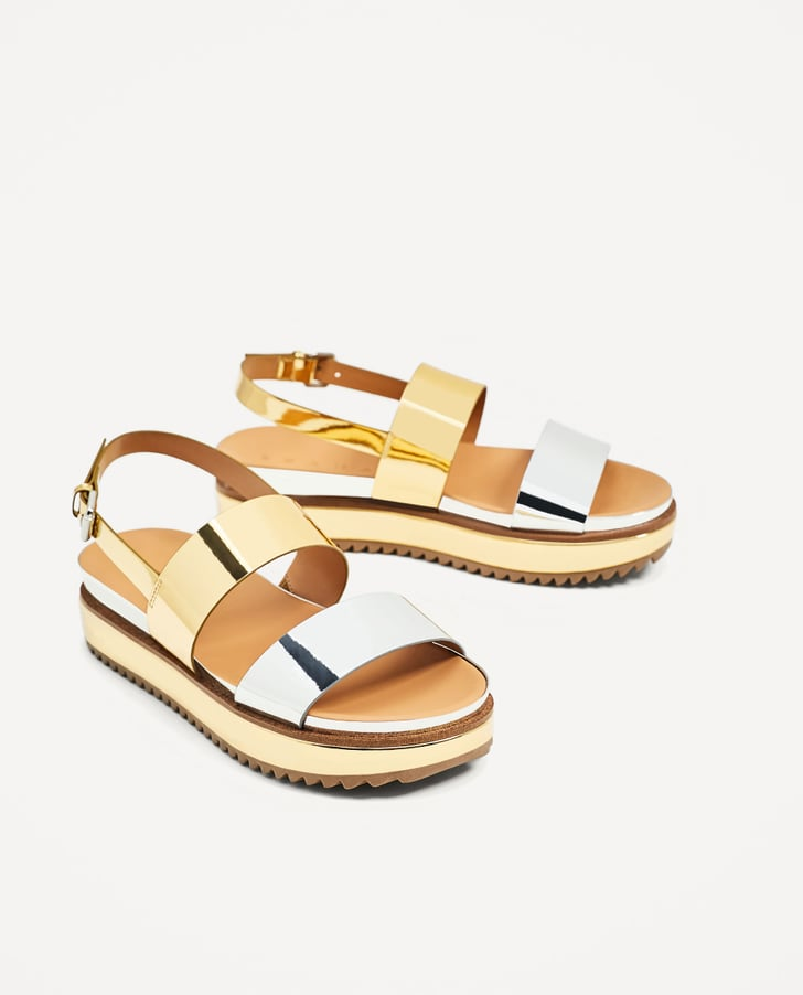 Zara Metallic Platform Sandals