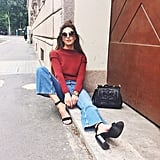 A Colourful Turtleneck, Flared Jeans, and Chunky Heels