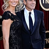 George Clooney and Stacy Keibler arrive at the SAGs.