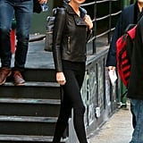Taylor Swift stayed warm in a sleek leather jacket in NYC on Friday.