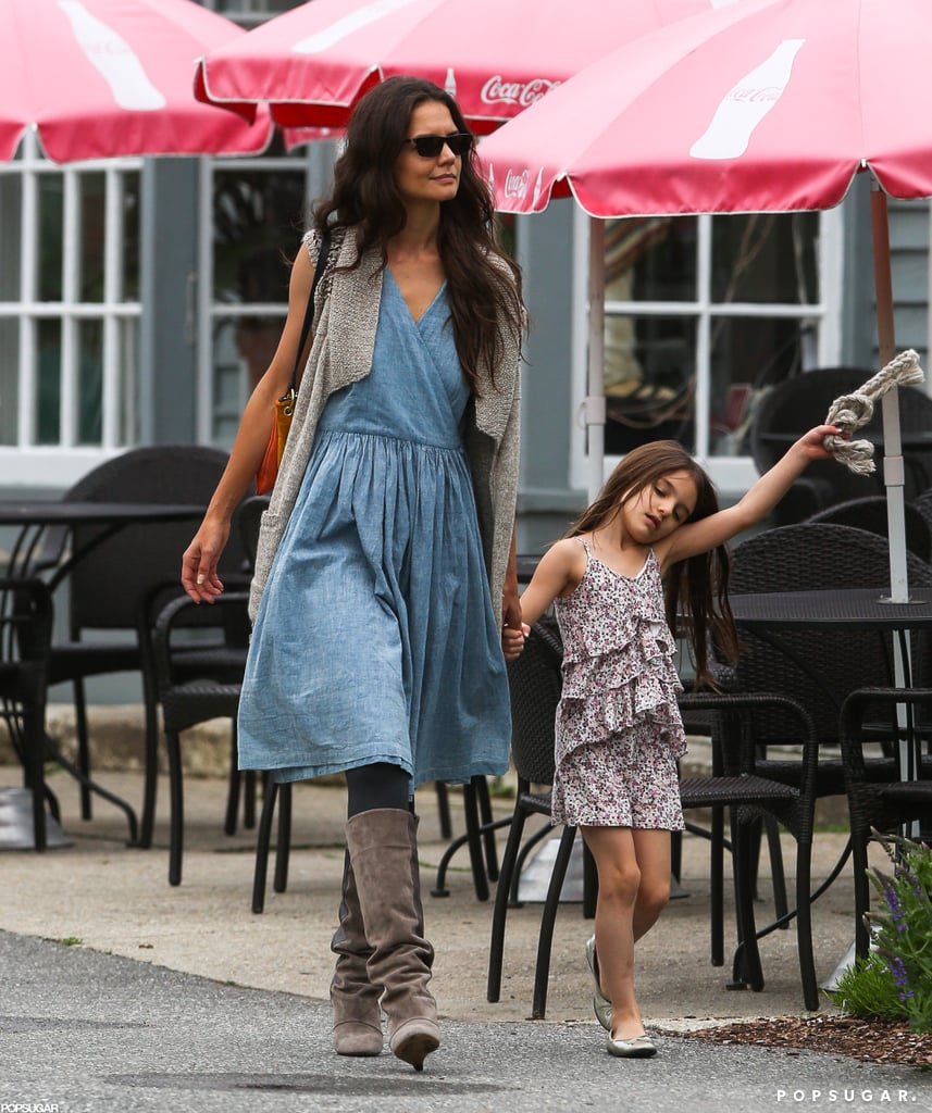 Suri Cruise was armed with a chocolate milk yesterday while out for a stroll in Kent, CT, with her mom Katie Holmes. The girls are together in the Northeast while Katie works on a big-screen version of the Anton Chekhov play The Seagull. It hasn't been all work, though, as Katie and Suri have been seen exploring the area and dropping by a local flea market. They wrapped up the Connecticut adventure yesterday. Katie, Suri, and the little one's doll boarded a private plane to head off on their next adventure and possibly meet up with dad, Tom Cruise, who's prepping for the Summer release of Rock of Ages.  We're coming to the end of our annual PopSugar 100 —who do you think had a bigger year, Tom or Katie? Make sure to cast your vote in the PopSugar 100 and enter to win $2,500!