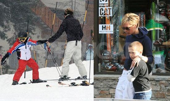 Posh and Brooklyn Continue Ski School