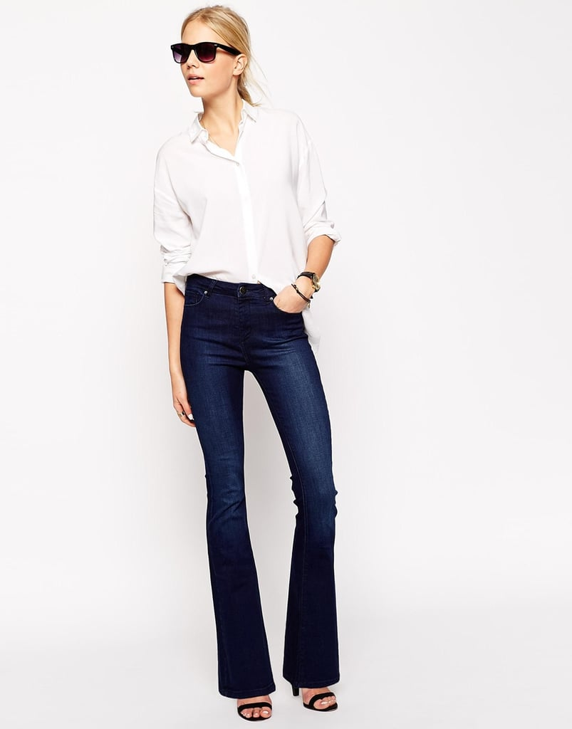Asos Bell Flare Jeans in Deep Blue, $67.31