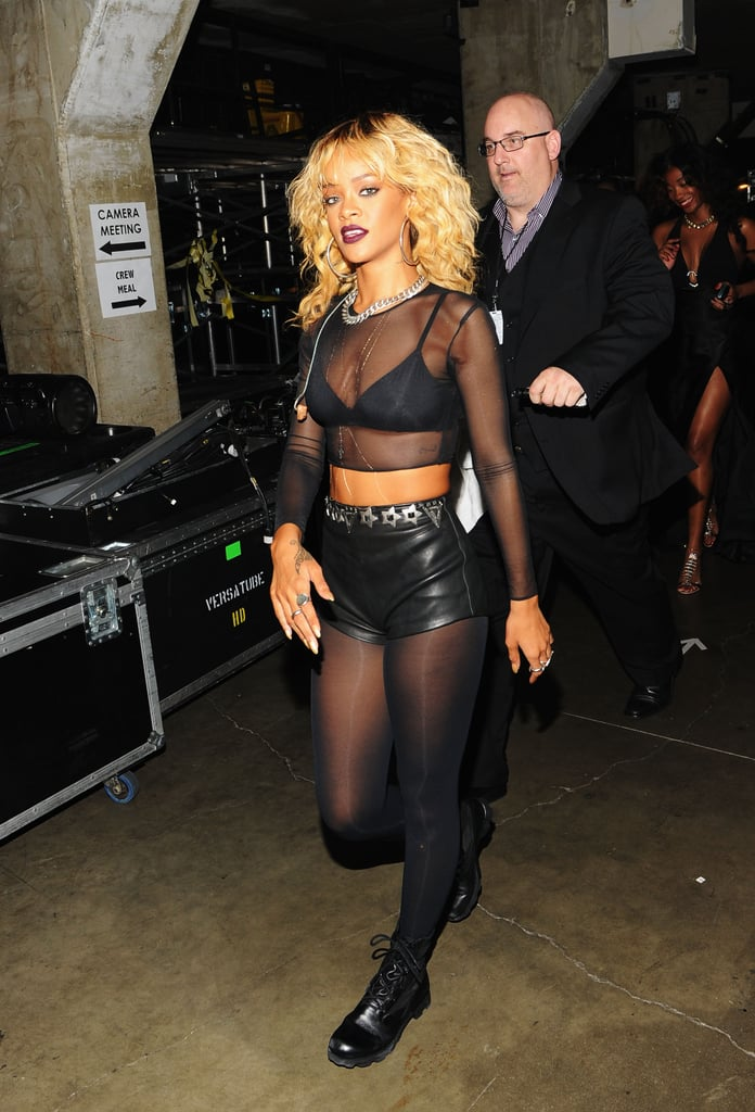 Rihanna showed off her performance costume backstage.