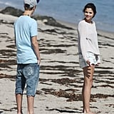 Selena wore short shorts to the beach.