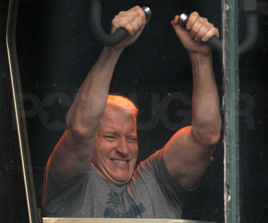 Slide Photo of Anderson Cooper Working Out