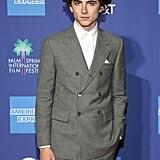 Timothée looked timeless in a double-breasted Thom Browne suit at the Palm Springs International Film Festival in 2019.