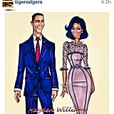 Tyra Banks shared a fan's drawing of the president and first lady.  Source: Instagram user tyrabanks