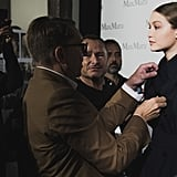 Gigi Getting Ready For Max Mara Backstage