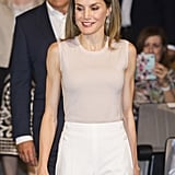 Queen Letizia's High-Waisted White Pants July 2016