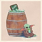 Illustrations of Baby Yoda Eating Popular Disney Snacks