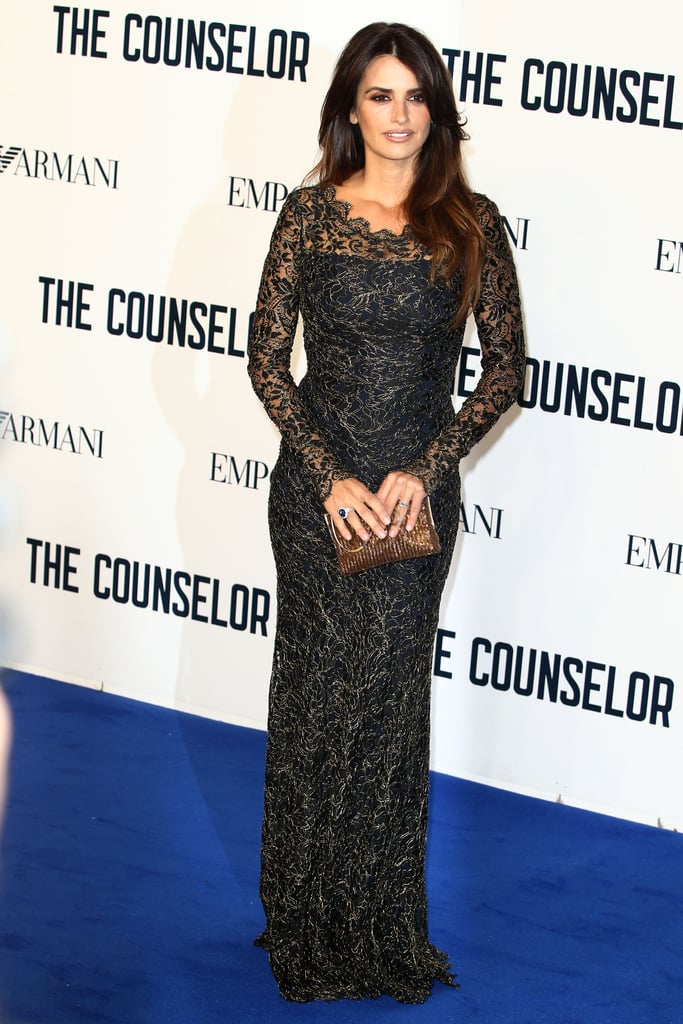 Even in a long-sleeved Temperley London gown, Penélope Cruz sizzled at the premiere of The Counselor in London.