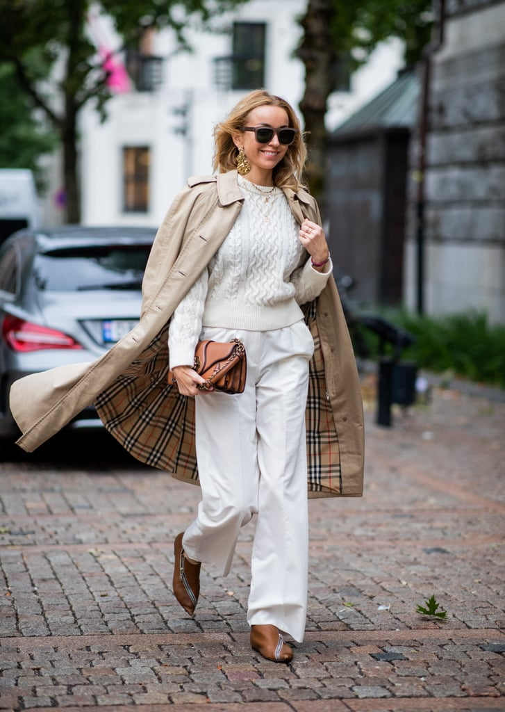 Add a cable knit and classic trench coat to your lightweight trousers.