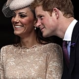 In June 2012, Prince Harry leaned in and the Duchess of Cambridge got the giggles during a Service of Thanksgiving at St. Paul's Cathedral in London.