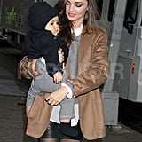 Miranda Kerr and Flynn Bloom wore neutral Winter outfits.