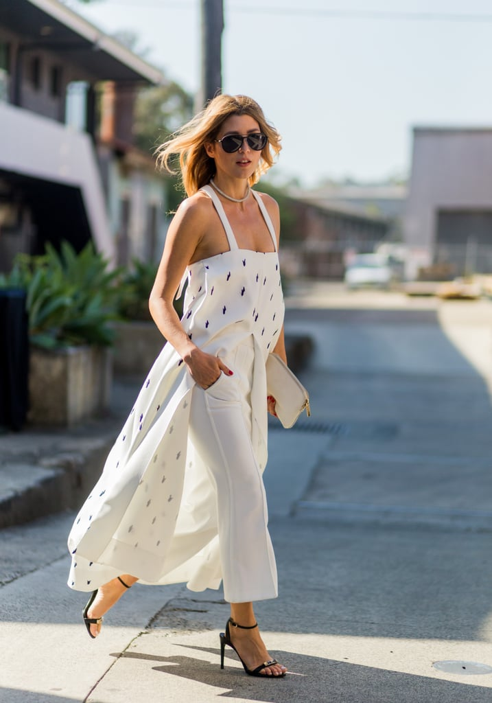 Layer a Long Tunic Over Cropped White Trousers and Complete With Heels