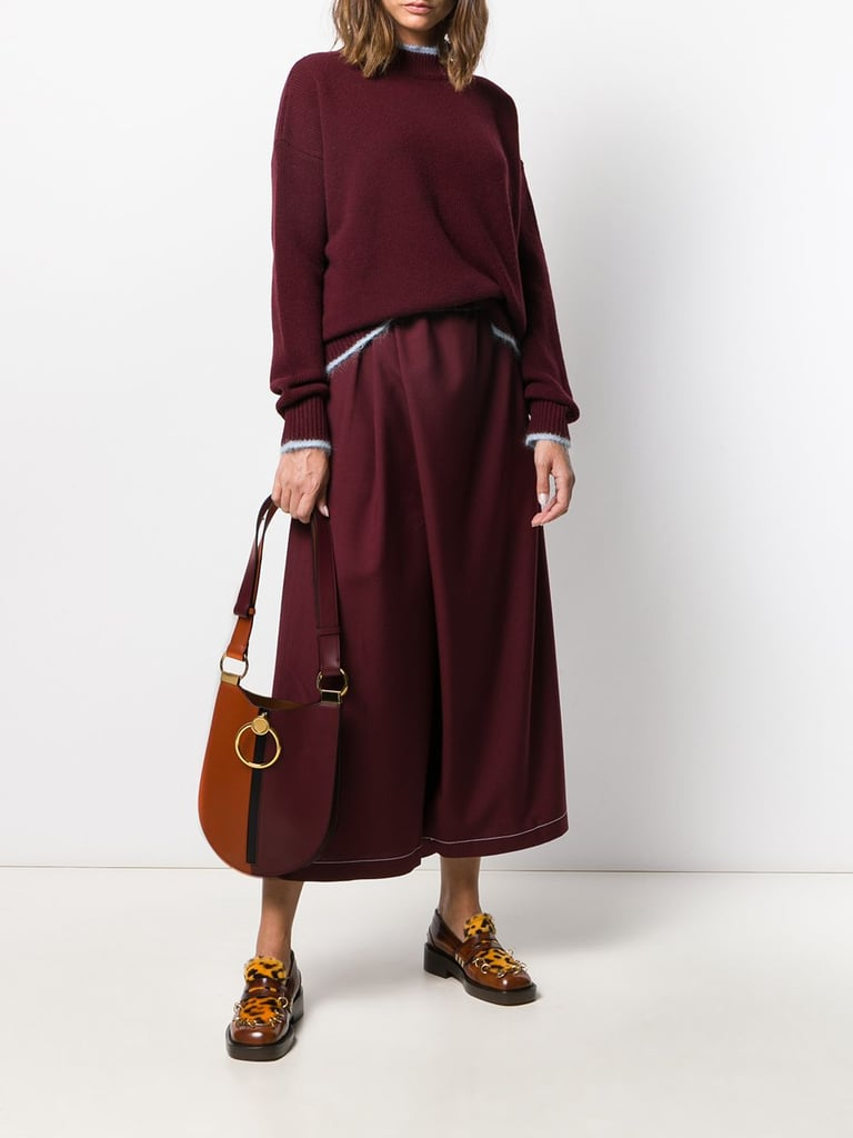Marni Bi-Color Crewneck Sweater and Contrast Stitching Wrap Loose Trousers