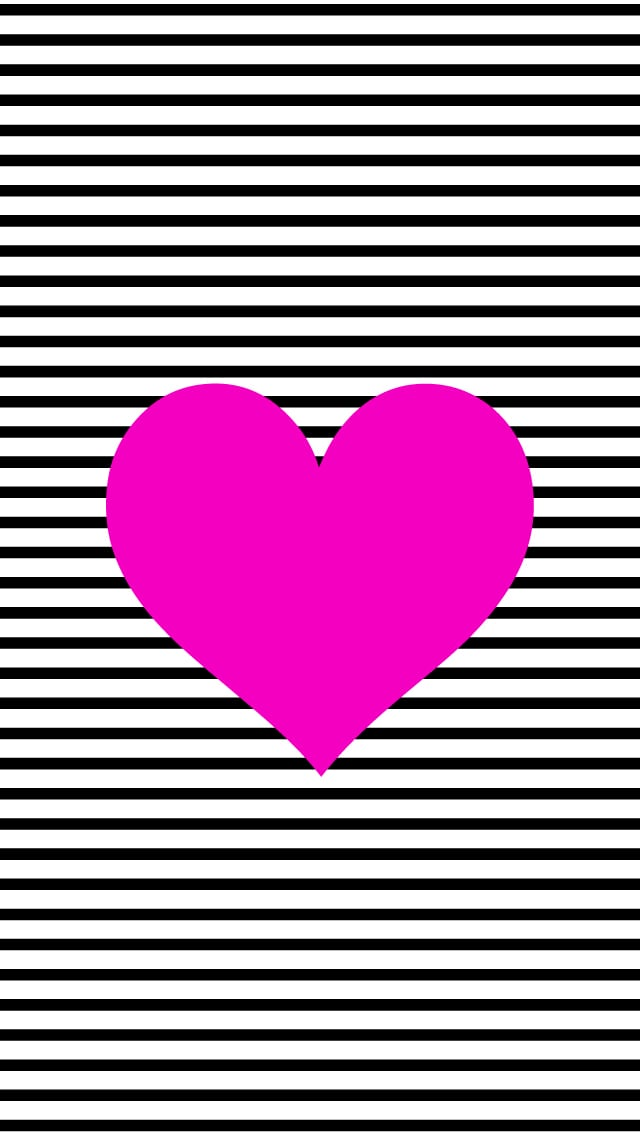 Black and White Stripe Heart | Cute iPhone 6 Wallpaper ...