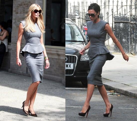 Victoria Beckham and Elle Macpherson Both Wear Gray Victoria Beckham Collection Dress