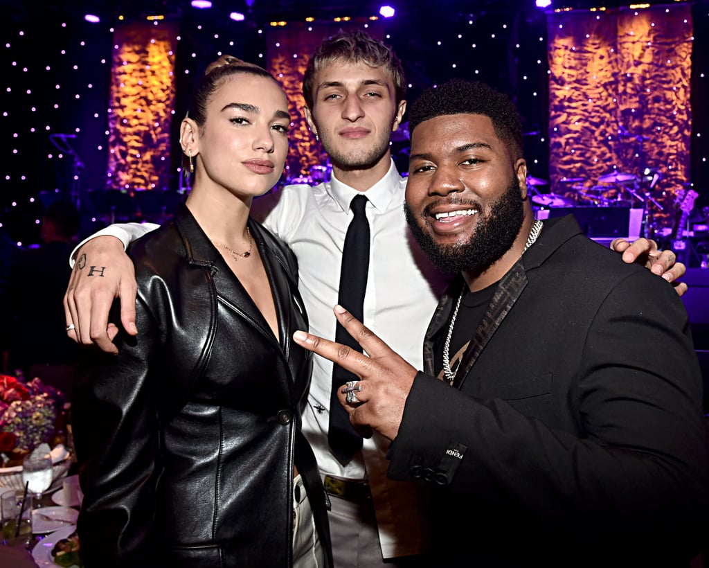 Dua Lipa, Anwar Hadid, and Khalid at Clive Davis's 2020 Pre-Grammy Gala in LA