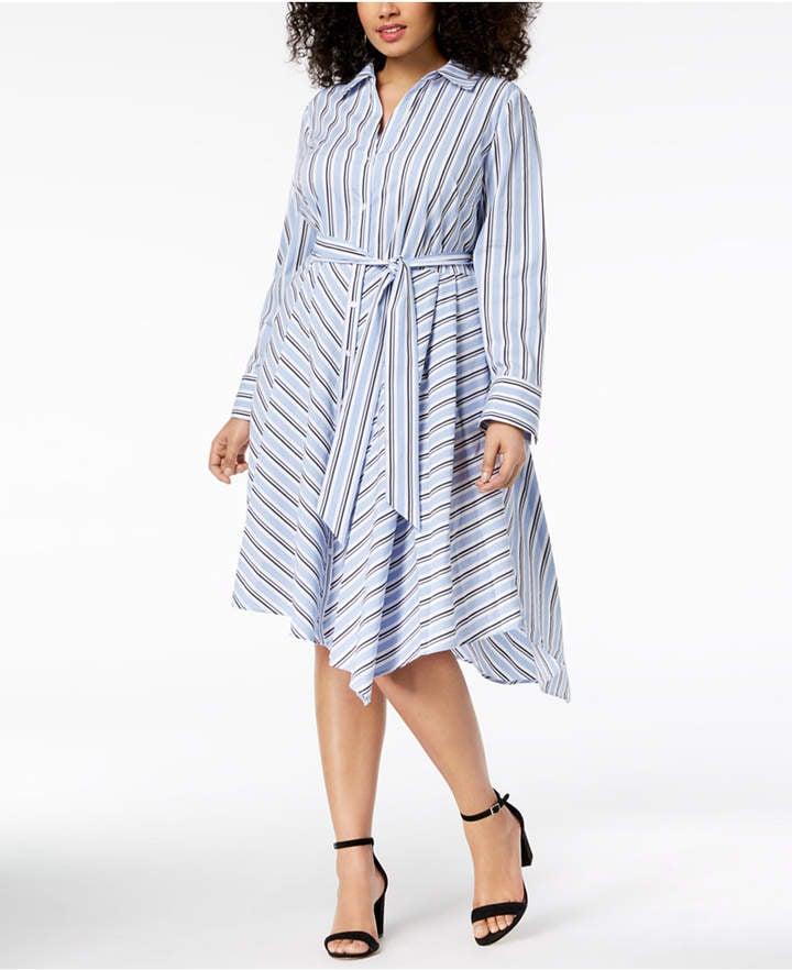 INC Striped Asymmetrical Shirtdress